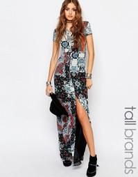 Длинное чайное платье со смешанным принтом Glamorous Tall - Мульти
