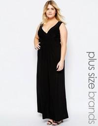 Платье макси размера плюс с запахом спереди Goddiva Plus - Черный