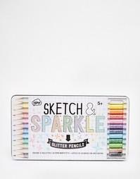 Цветные карандаши с блестками NPW Sketch & Sparkle - Мульти