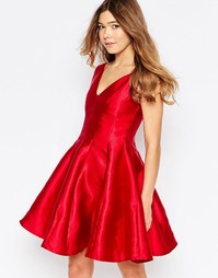 Короткое приталенное платье с юбкой-годе Girl In Mind Aggie - Красный