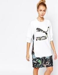 Удлиненное платье‑футболка с логотипом и принтом спереди Puma X Swash