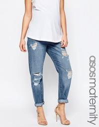 Рваные джинсы бойфренда для беременных кроя слим ASOS Maternity