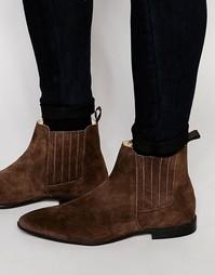 Коричневые замшевые ботинки челси со скрытыми эластичными вставками AS Asos