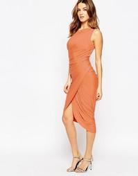 Платье на одно плечо с драпировкой Forever Unique Kayden - Оранжевый