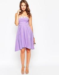 Расшитое бисером платье миди True Violet - Сиреневый