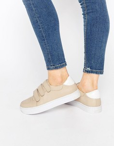 Нюдовые кожаные кроссовки Senso Abigail II - Телесный