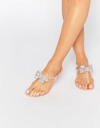 Телесные сандалии из гибкого пластика с бантиками Miss KG Daisy