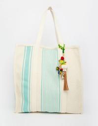 Холщовая пляжная сумка с бирюзовыми полосками Star Mela