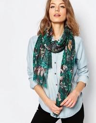 Oversize-шарф с тропическим принтом Becksondergaard - Изумруд