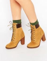 Бежевые ботинки на каблуке высотой 6 дюймов Timberland Glancy