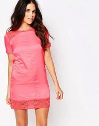 Цельнокройное платье с кружевными вставками Hedonia Tatum - Коралловый