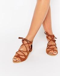 Светло-коричневые сандалии-гладиаторы Head over Heels By Dune Lillie