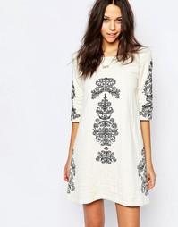 Платье с вышивкой и глубоким V‑образным вырезом сзади BA&SH - Экрю Ba&;Sh