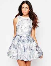 Короткое приталенное платье с цветочным принтом Hedonia Flo