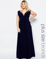 Платье макси размера плюс с узелком спереди Goddiva Plus - Темно-синий