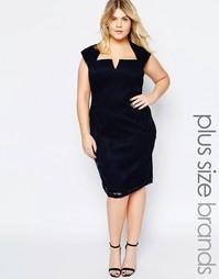 Кружевное платье с вырезом на горловине Goddiva Plus - Темно-синий