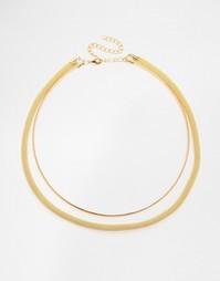 Ожерелье в два ряда с простым дизайном Missguided - Золотой