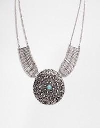 Броское ожерелье в этническом стиле с дисками Missguided - Серебряный