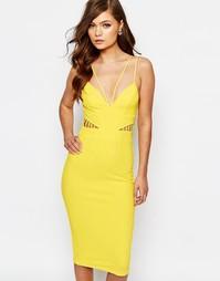 Платье-футляр с вырезом Ginger Fizz - Неоновый лимонный