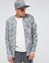 Трикотажная куртка-пилот с цветочным принтом ASOS - Зеленый