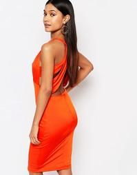 Платье миди с вырезами и отделкой на спине NaaNaa - Красный