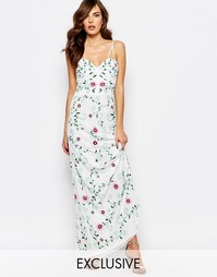 Платье макси с полупрозрачным лифом и вышивкой Frock and Frill