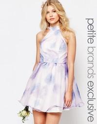 Короткое платье для выпускного из органзы с принтом Chi-Chi London Pet