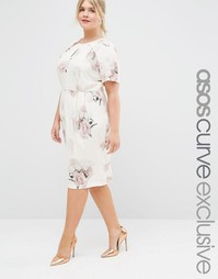 Платье-футляр миди с цветочным принтом ASOS CURVE SALON - Цветочный