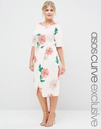 Платье с запахом спереди и цветочным принтом ASOS CURVE - Цветочный