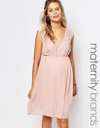 Свободное платье для кормления с кружевным лифом Mamalicious - Розовый Mama.Licious