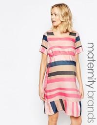 Тканое цельнокройное платье для беременных в полоску Mamalicious Mama.Licious