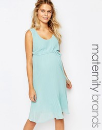 Платье без рукавов с юбкой плиссе Mamalicious - Зеленый Mama.Licious