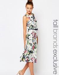 Платье миди для выпускного с цветочным принтом и бантом спереди Paper