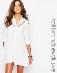 Платье-рубашка с кружевной вставкой в стиле фолк Glamorous Tall