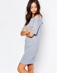 Меланжевое платье с открытыми плечами Esprit - Серо-синий