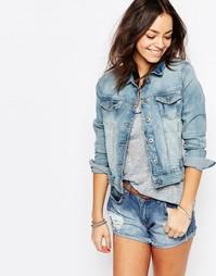 Выбеленная джинсовая куртка Esprit - Выбеленный синий