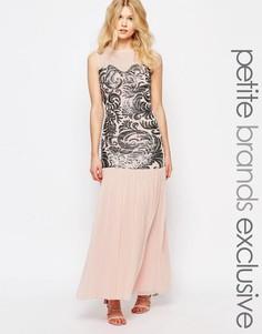 Платье макси с пайетками и тюлевой юбкой John Zack Petite - Blush