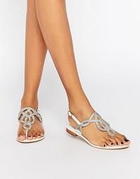 Кожаные сандалии с серебристой отделкой Dune - Белая кожа