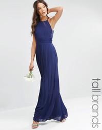 Плиссированное платье макси с завышенной талией TFNC Tall