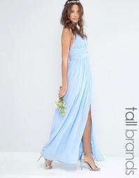 Шифоновое платье макси с завязками на шее TFNC Tall - Синий