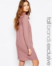 Платье-рубашка с кружевной вставкой и пуговицами сзади Y.A.S Tall