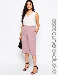 Длинная юбка-шорты из крепа ASOS CURVE - Сумеречно-розовый