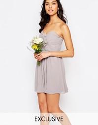 Шифоновое платье‑бандо мини TFNC WEDDING - Опаловый серый