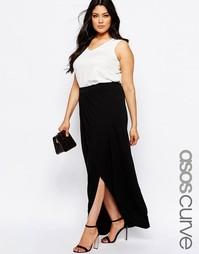 Трикотажная юбка макси с запахом ASOS CURVE - Черный