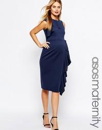 Платье миди для беременных с оборкой и баской ASOS Maternity