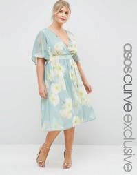 Платье миди с винтажным цветочным принтом ASOS CURVE SALON - Принт