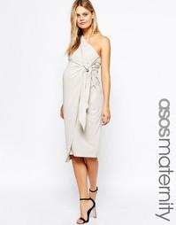 Платье-футляр миди для беременных на одно плечо с драпировкой ASOS Mat
