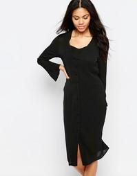 Платье миди с расклешенными рукавами Neon Rose - Черный