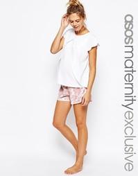 Пижамные топ для кормления и шорты с цветочным принтом ASOS Maternity