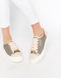 Кроссовки на платформе с золотистой нитью Lipsy Maria - Золотой